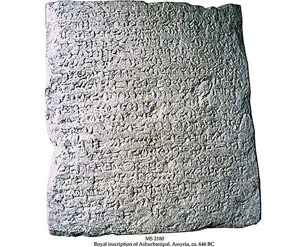 Detail van een kleitablet met Assyrisch spijkerschrift (646BC) dat in het British Museum hangt