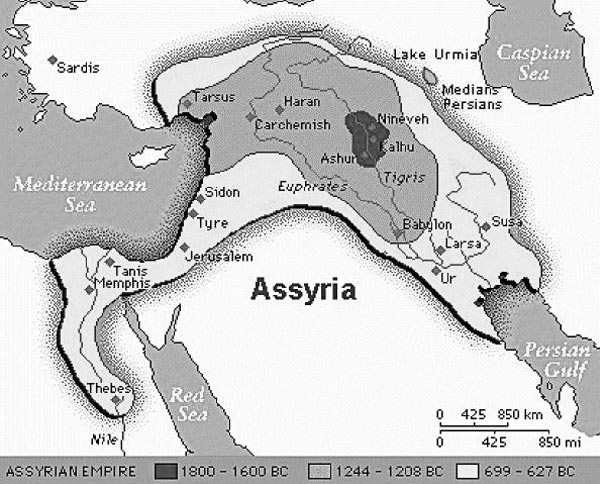 Kaart Assyrische rijk